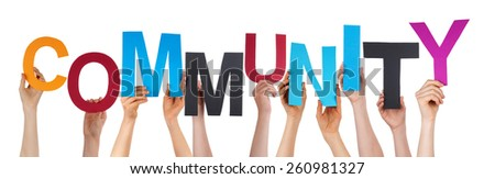 Many Caucasian People And Hands Holding Colorful Letters Or Characters Building The Isolated English Word Community On White Background - stock photo