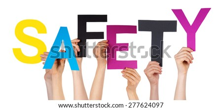 Many Caucasian People And Hands Holding Colorful  Letters Or Characters Building The Isolated English Word Safety On White Background - stock photo