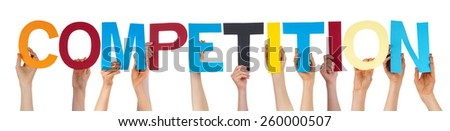 Many Caucasian People And Hands Holding Colorful Straight Letters Or Characters Building The Isolated English Word Competition On White Background - stock photo