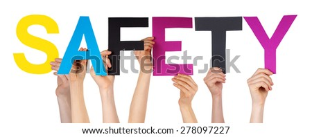 Many Caucasian People And Hands Holding Colorful Straight Letters Or Characters Building The Isolated English Word Safety On White Background - stock photo
