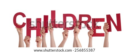 Many Caucasian People And Hands Holding Red Letters Or Characters Building The Isolated English Word Children On White Background - stock photo