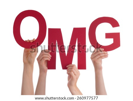 Many Caucasian People And Hands Holding Red Letters Or Characters Building The Isolated English Word OMG On White Background - stock photo