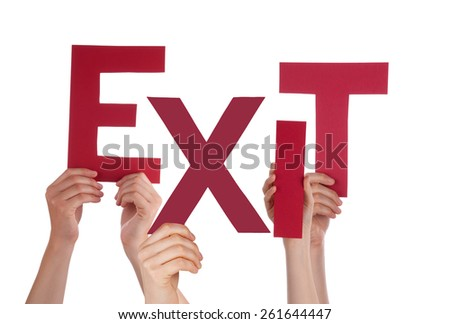 Many Caucasian People And Hands Holding Red Letters Or Characters Building The Isolated English Word Exit On White Background - stock photo