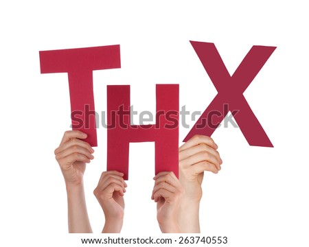 Many Caucasian People And Hands Holding Red Letters Or Characters Building The Isolated English Word THX On White Background - stock photo