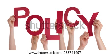 Many Caucasian People And Hands Holding Red Letters Or Characters Building The Isolated English Word Policy On White Background - stock photo