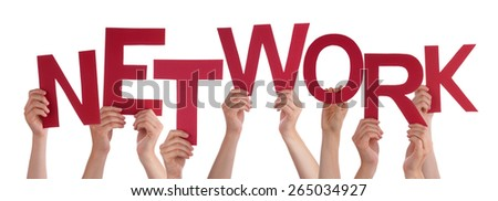 Many Caucasian People And Hands Holding Red Letters Or Characters Building The Isolated English Word Network On White Background - stock photo