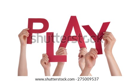 Many Caucasian People And Hands Holding Red Letters Or Characters Building The Isolated English Word Play On White Background - stock photo