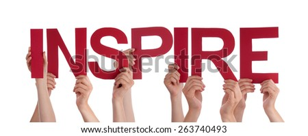 Many Caucasian People And Hands Holding Red Straight Letters Or Characters Building The Isolated English Word Inspire On White Background - stock photo