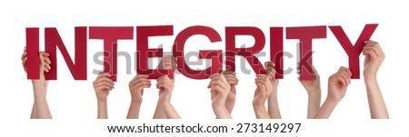 Many Caucasian People And Hands Holding Red Straight Letters Or Characters Building The Isolated English Word Integrity On White Background - stock photo