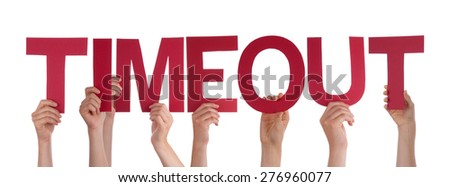Many Caucasian People And Hands Holding Red Straight Letters Or Characters Building The Isolated English Word Timeout On White Background - stock photo
