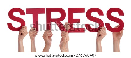 Many Caucasian People And Hands Holding Red Straight Letters Or Characters Building The Isolated English Word Stress On White Background - stock photo