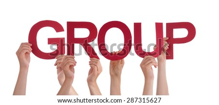 Many Caucasian People And Hands Holding Red Straight Letters Or Characters Building The Isolated English Word Group On White Background - stock photo