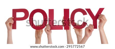 Many Caucasian People And Hands Holding Red Straight Letters Or Characters Building The Isolated English Word Policy On White Background - stock photo