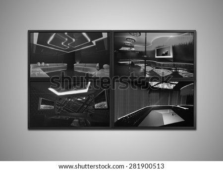 many cctv signal showing on the monitor display, it is representing the security - stock photo