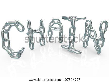 Many chains connected together and linked to form the word Chain, symbolizing unity, teamwork, organization, team processes, procedure and synergy - stock photo