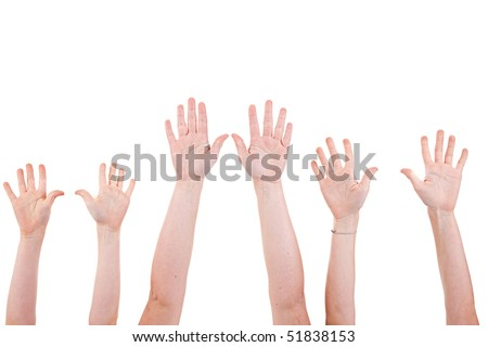Many children hands high up, isolated on white background. Studio shot - stock photo