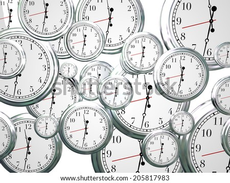 Many clocks ticking counting down seconds, minutes hours time marches moves forward - stock photo