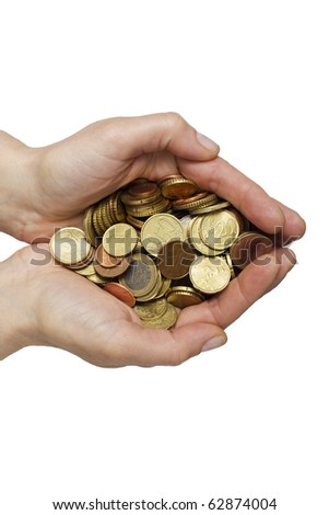 many coins in hands - stock photo