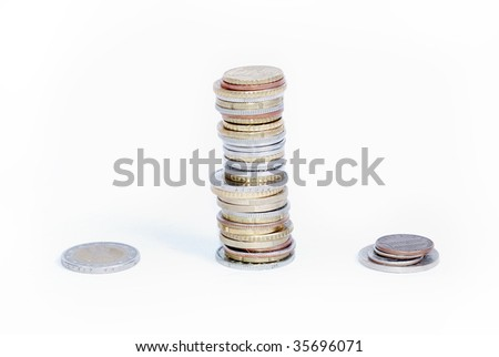 Many coins in one place isolated - stock photo
