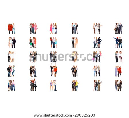Many Colleagues Team over White  - stock photo