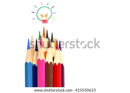 many color pencil drawing colorful light bulb on white, idea and teamwork concept. - stock photo