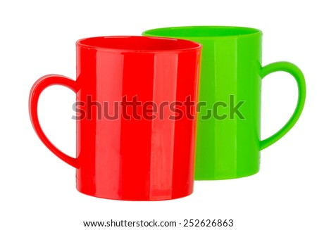 Many color plastic cup on white background - stock photo