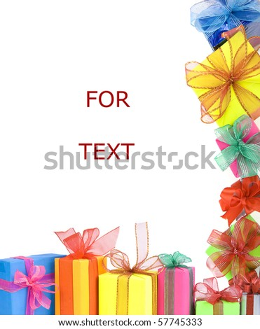 many colored gift boxes border frame with copy space isolated  on white background - stock photo