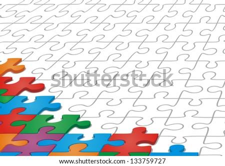 Many-colored puzzle pattern. Raster version, vector file available in portfolio. - stock photo
