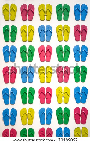 Many colored slippers  - stock photo