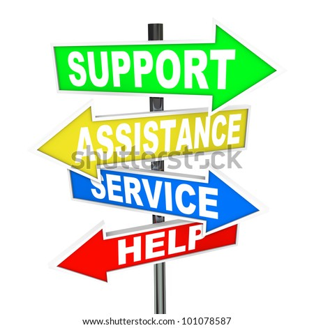 Many colorful arrow signs point to a solution to your problem, offering support, assistance, service and help to give advice in finding an answer to your trouble - stock photo