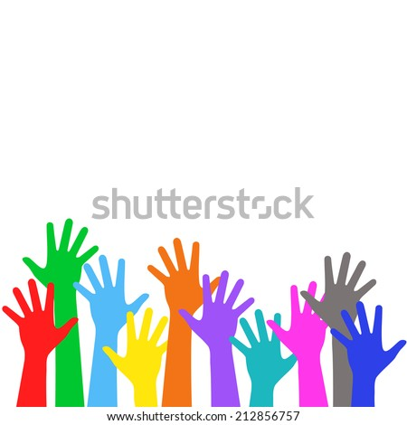 Many colorful children hands, vote upwards - holiday background - stock photo