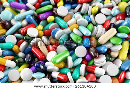 Many colorful drugs and supplement pills. Background or texture - stock photo