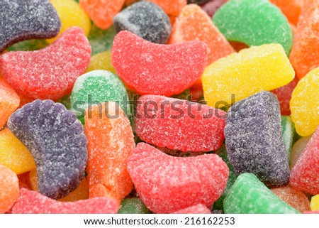 many colorful gummy candies for background use  - stock photo
