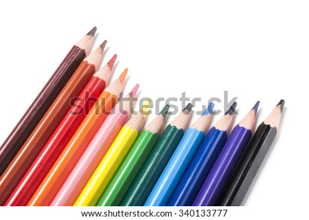 Many colorful pencil like a rainbow make diagonal line(oblique line) isolated white. - stock photo