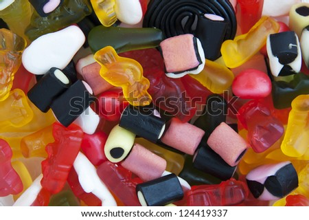 Many colorful sugar candy - texture theme - stock photo