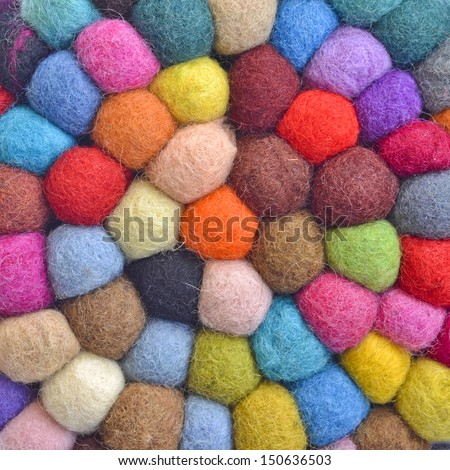 many colorful yarn balls  - stock photo