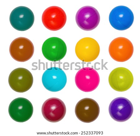 Many colour plastic balls from children's small town  - stock photo