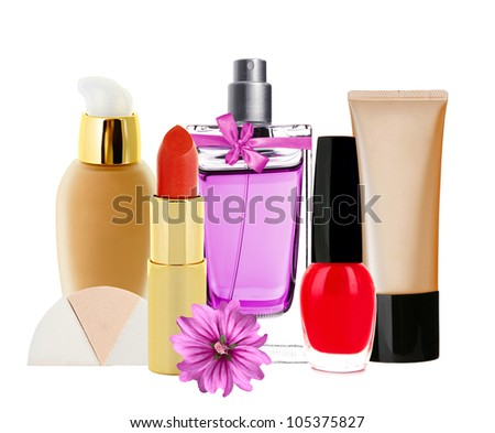 Many cosmetics and pink flower isolated on white background - stock photo
