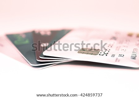 Many credit card set. background and texture. - stock photo