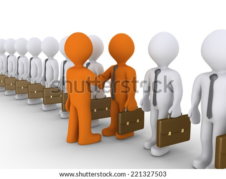 Many 3d businessmen in line but one shake hands with the boss - stock photo
