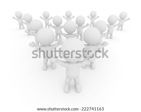 Many 3D characters with arms raised, isolated on white  - stock photo