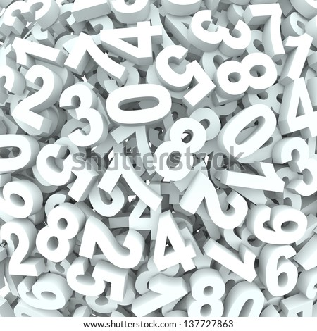 Many 3d numbers in dissarray spread out to represent chaos or learning mathematics or accounting - stock photo
