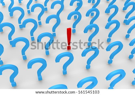 Many 3d question mark symbols and one exclamation mark - stock photo