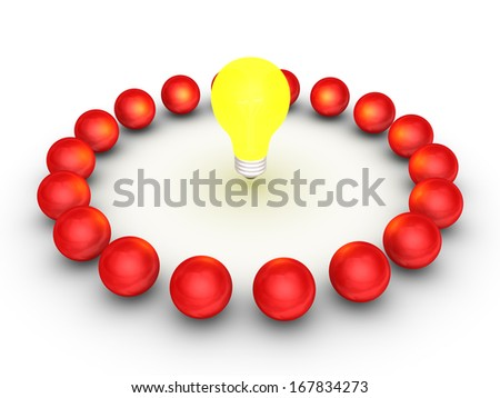 Many 3d spheres around a bright light bulb - stock photo