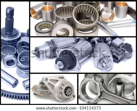 many different auto car spare parts, a collage - stock photo