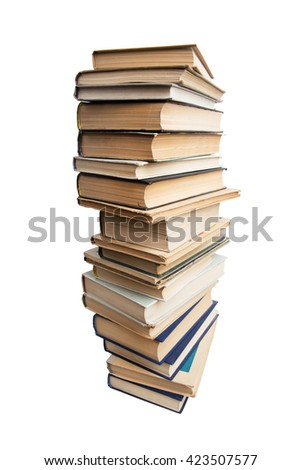 Many different books on a white background - stock photo