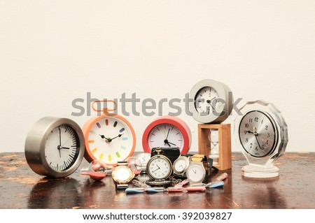 Many different Clocks - stock photo