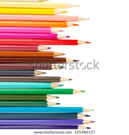 Many different color pencils isolated on white - stock photo