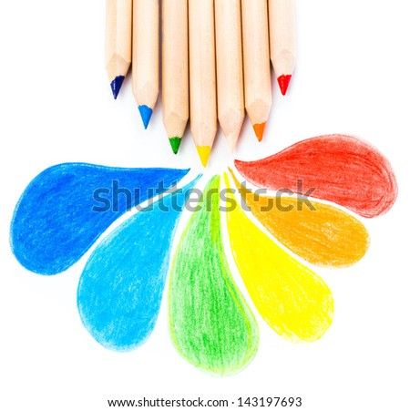 Many different colored Rainbow pencils school supplies  on white background - stock photo