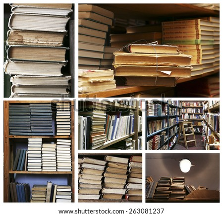 Many different compositions with books in collage - stock photo